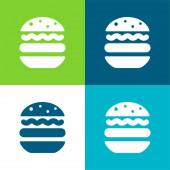 Big Hamburger Flat four color minimal icon set