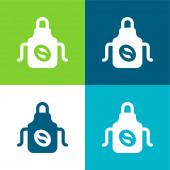Kötény Lapos négy szín minimális ikon készlet