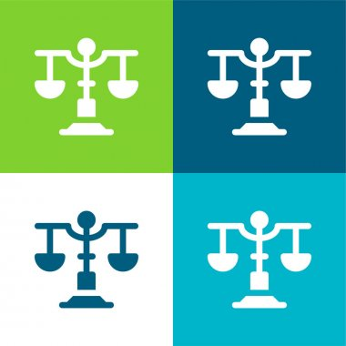 Balance Flat four color minimal icon set stock vector