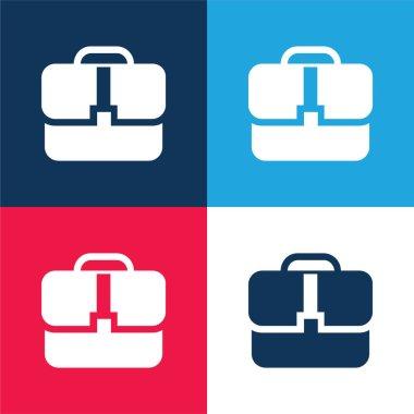 Black Handbag blue and red four color minimal icon set