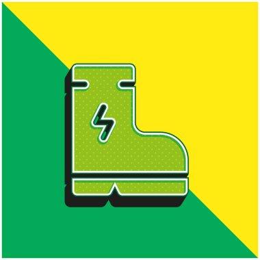 Boot Green and yellow modern 3d vector icon logo stock vector