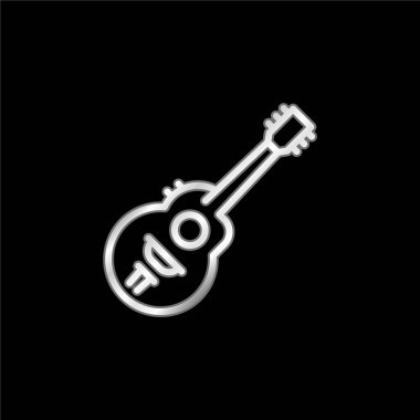 Acoustic Guitar silver plated metallic icon stock vector