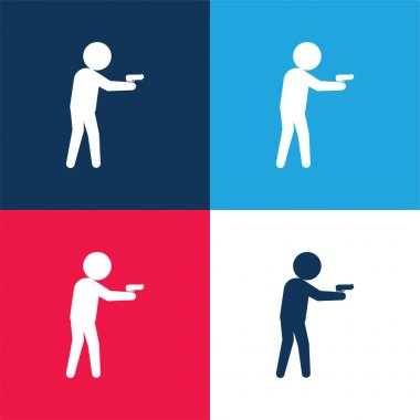 Armed Criminal Male Silhouette blue and red four color minimal icon set stock vector