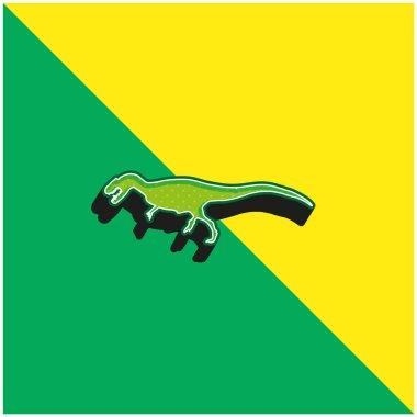Allosaurus Dinosaur Shape Green and yellow modern 3d vector icon logo stock vector