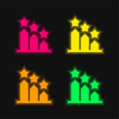 Bar Graph four color glowing neon vector icon stock vector