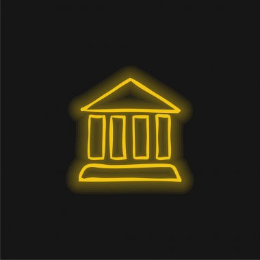 Antique Columns Building Outline yellow glowing neon icon stock vector