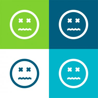 Annulled Emoticon Square Face Flat four color minimal icon set