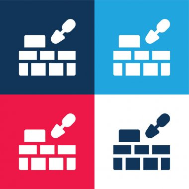 Brick Wall blue and red four color minimal icon set stock vector