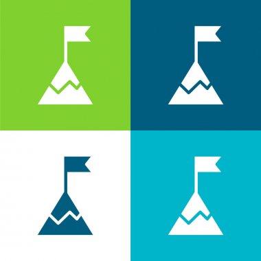 Achievement Flat four color minimal icon set stock vector