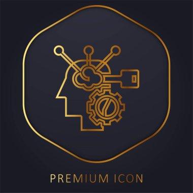 Brain Process golden line premium logo or icon stock vector