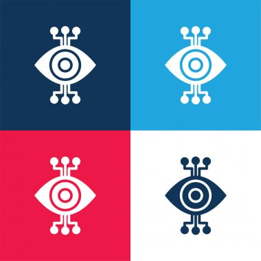 Bionic Eye blue and red four color minimal icon set