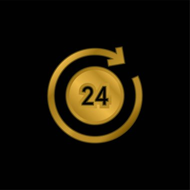 24 Hours gold plated metalic icon or logo vector stock vector