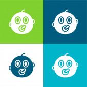 Baby Flat čtyři barvy minimální ikona nastavena