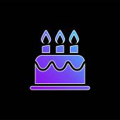 Narozeninový dort modrý přechod vektorová ikona