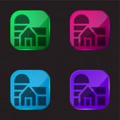 Ikona tlačítka stodoly čtyři barvy