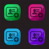 Helyezd el itt: Business Card Symbol four color glass button icon