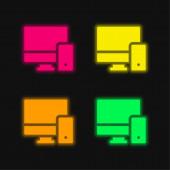 Adaptive leuchtende Neon-Vektorsymbole in vier Farben