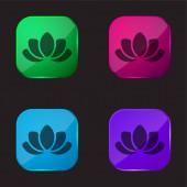 Krásná Lotus Flower čtyři barvy skleněné tlačítko ikona