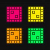 Board Game négy színű izzó neon vektor ikon