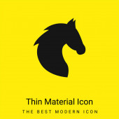 Black Head Horse Seitenansicht Mit Pferdehaar minimal leuchtend gelbes Materialsymbol