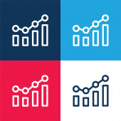 Bar Chart blue and red four color minimal icon set
