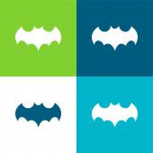 Bat Black Shape Mit Offenen Flügeln Flache Vier-Farben-Minimalsymbolset