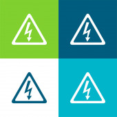 Pfeil-Bolzen-Signal des Elektroschock-Risikos in dreieckiger Form Flache Vier-Farben-Minimalsymbolsatz