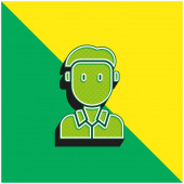 Junge grüne und gelbe moderne 3D-Vektor-Symbol-Logo