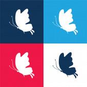 Schöne Schmetterling Silhouette blau und rot vier Farben minimales Symbol-Set