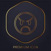 Angry Emoticon Face zlatá čára prémie logo nebo ikona