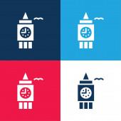 Big Ben modrá a červená čtyři barvy minimální ikona nastavena