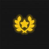 Díjnyertes sárga ragyogó neon ikon