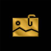 Befestigtes vergoldetes metallisches Symbol oder Logo-Vektor