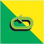 Pfeilschleife Grünes und gelbes modernes 3D-Vektorsymbol-Logo