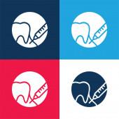 Anästhesie blau und rot vier Farben minimales Symbol-Set