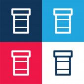 Flasche Pillen blau und rot vier Farben minimales Symbol-Set
