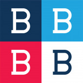 Bold blue and red four color minimal icon set