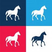 Black Race Horse On Walking Pose Side Nézd meg a kék és piros négy szín minimális ikon készlet