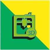 3D tiskárna Rozhraní Symbol nástroje Zelená a žlutá moderní 3D vektorové logo