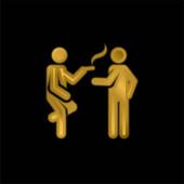 Brechen Sie vergoldete Metallic-Symbol oder Logo-Vektor