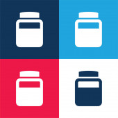 Flasche Chemischer Elemente blau und rot vier Farben minimales Symbol-Set