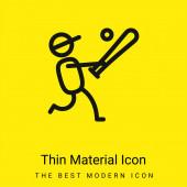 Baseballspieler minimal hellgelbes Material-Symbol