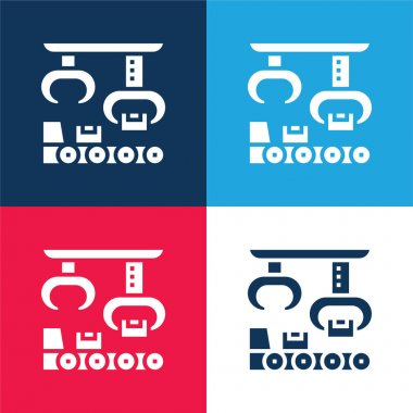 Assembly blue and red four color minimal icon set stock vector