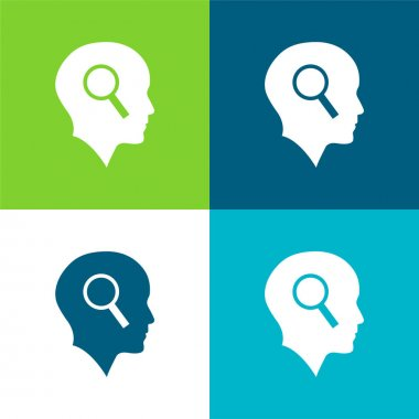 Bald Head With Magnifying Glass Flat four color minimal icon set stock vector