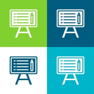 Blackboard Flat four color minimal icon set stock vector