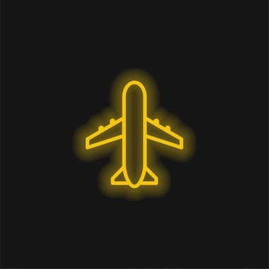 Airport Sign yellow glowing neon icon stock vector