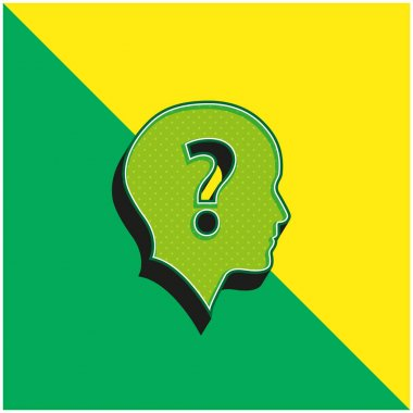 Bald Head With Question Mark Green and yellow modern 3d vector icon logo stock vector