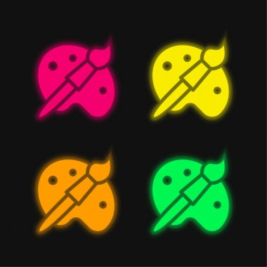 Artist Tools four color glowing neon vector icon stock vector