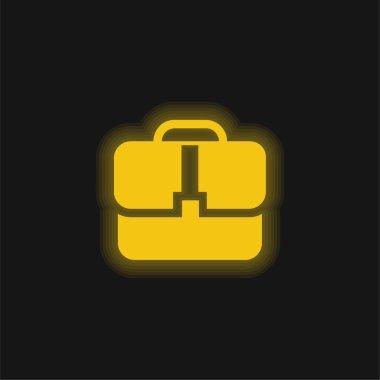 Black Handbag yellow glowing neon icon