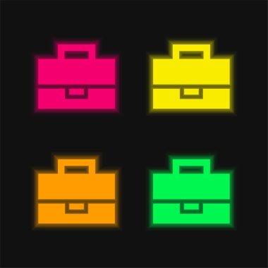 Black Briefcase four color glowing neon vector icon